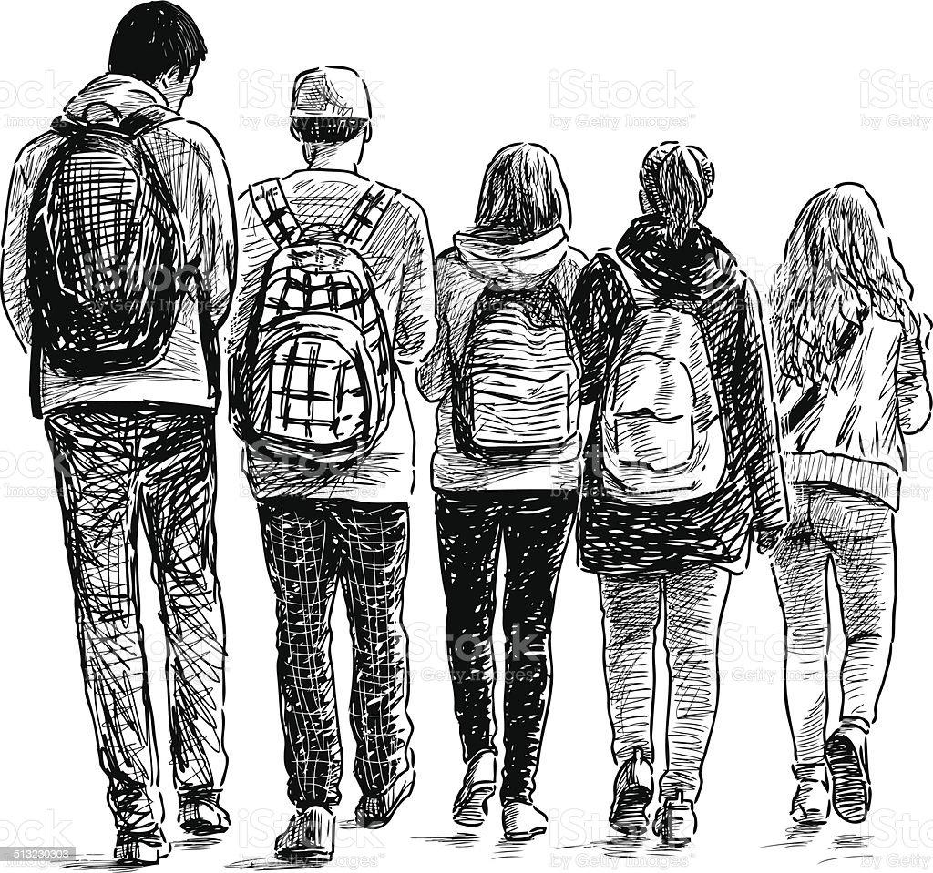 school students vector art illustration