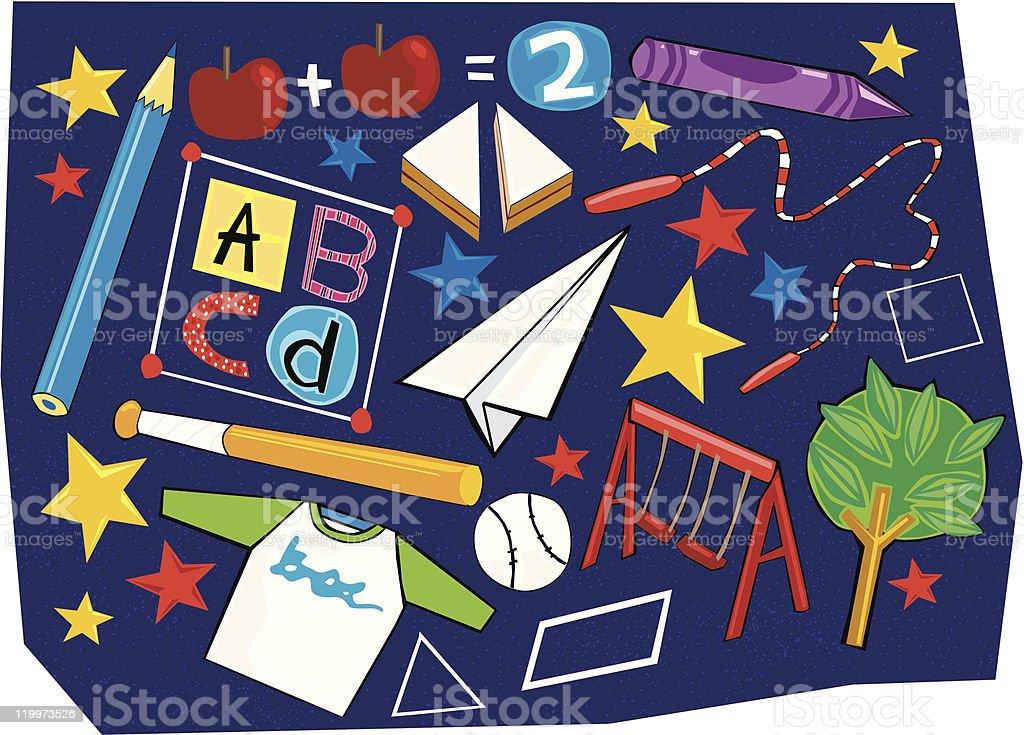 School Stuff vector art illustration