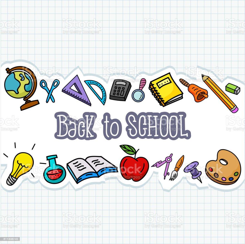 School stuffs on paper vector art illustration
