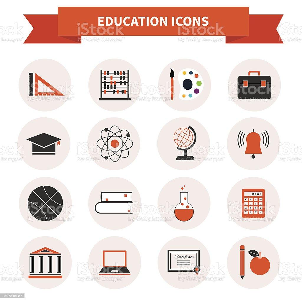 School Subject Icons vector art illustration