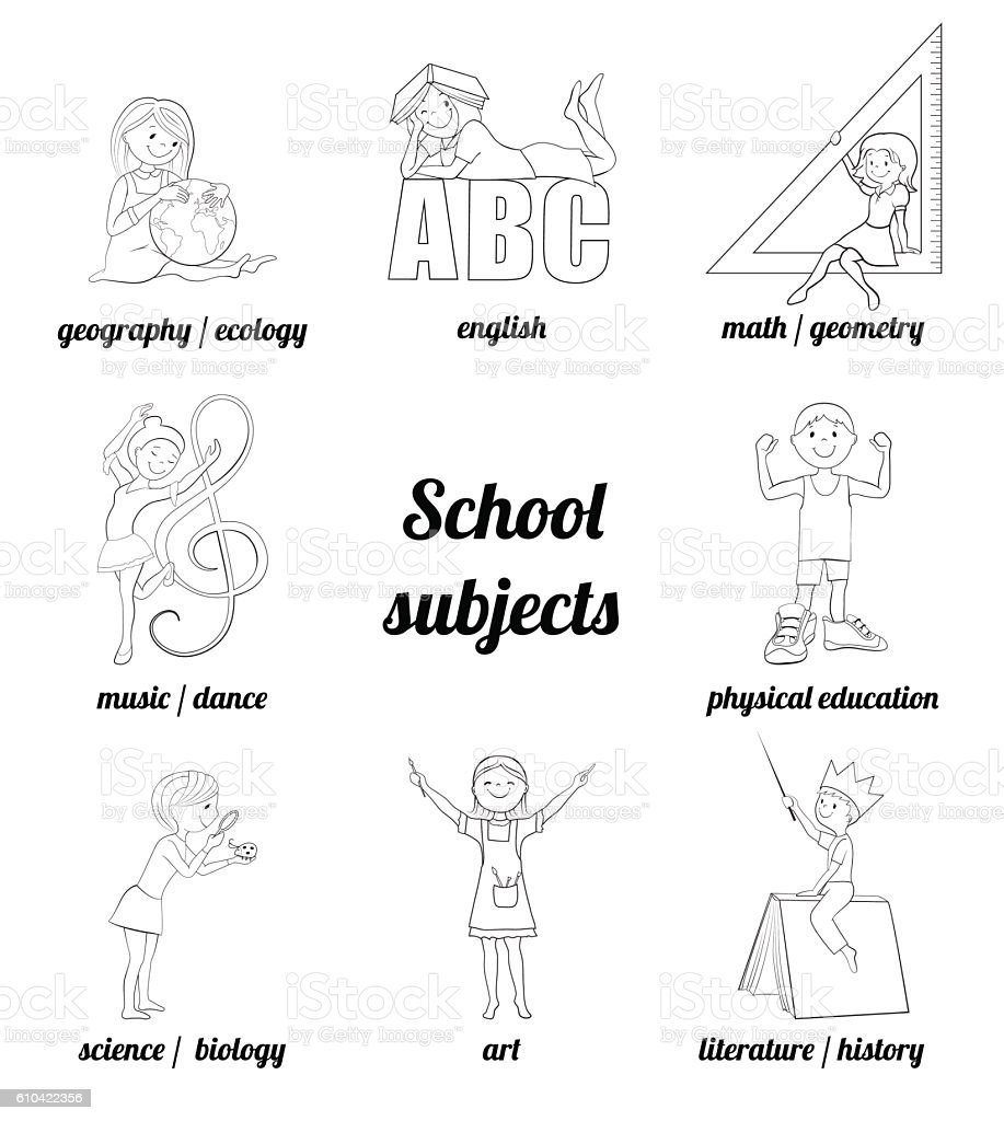 subjects vector coloring page stock vector art 610422356