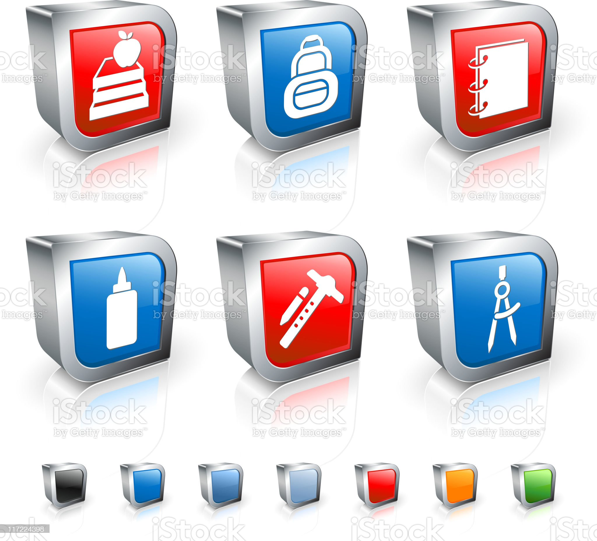 school supplies 3D royalty free vector icon set royalty-free stock vector art