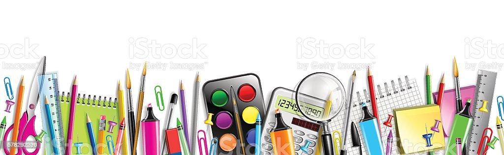 School Supplies Banner Isolated On White vector art illustration