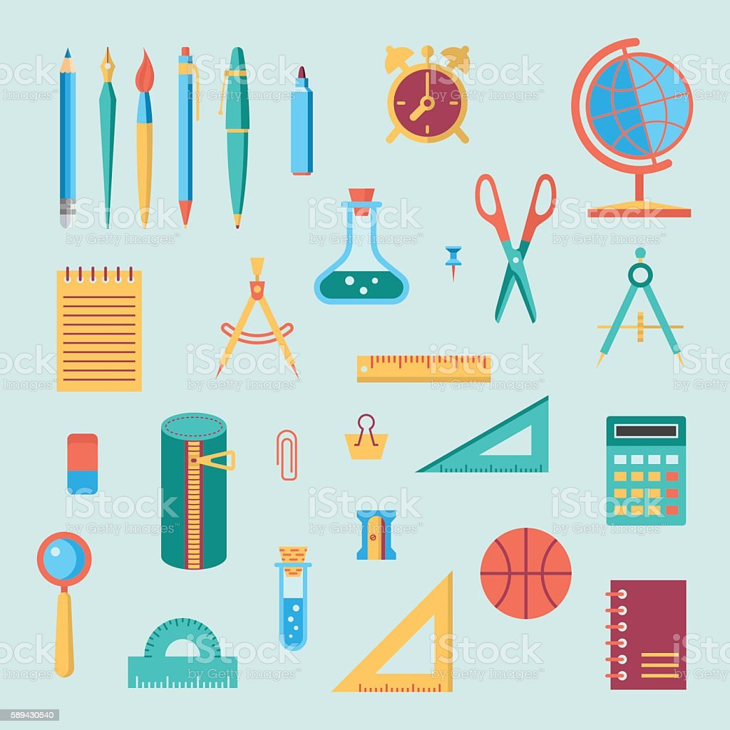 School supplies color icon set vector art illustration