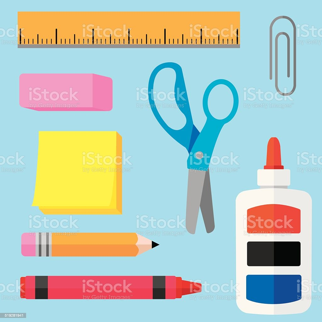 School Supplies Flat vector art illustration