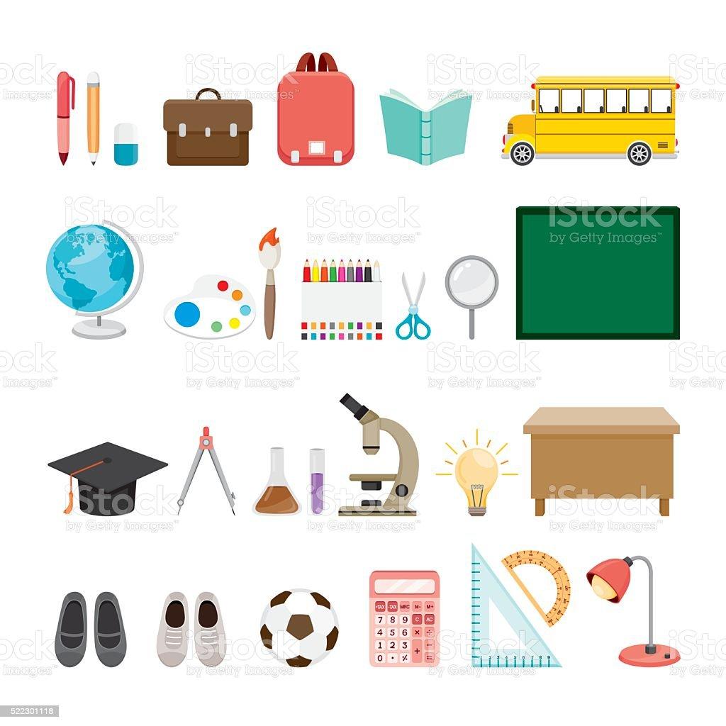 School Supplies Icons Set vector art illustration