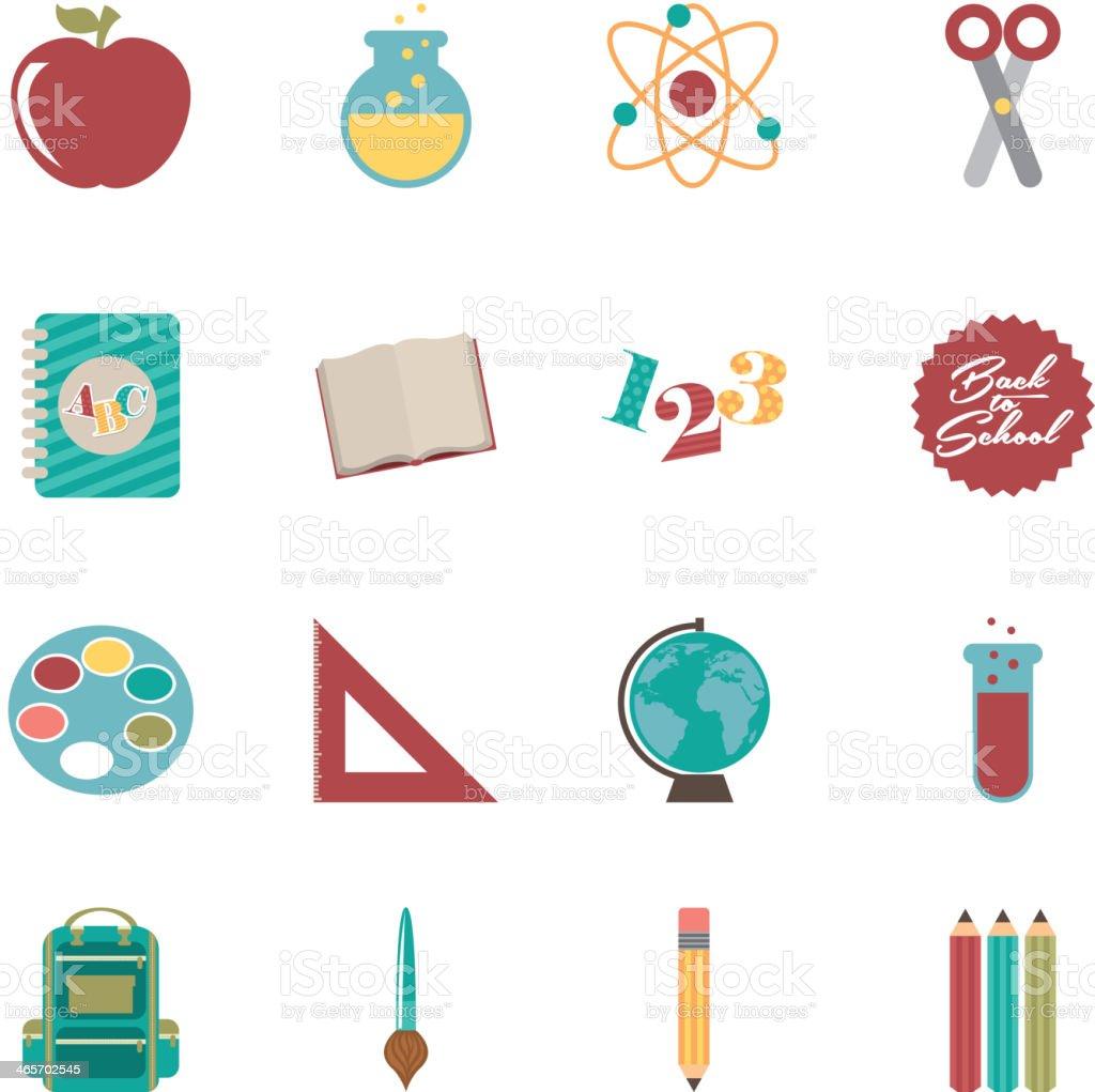 School supplies icons, Vector Illustration vector art illustration