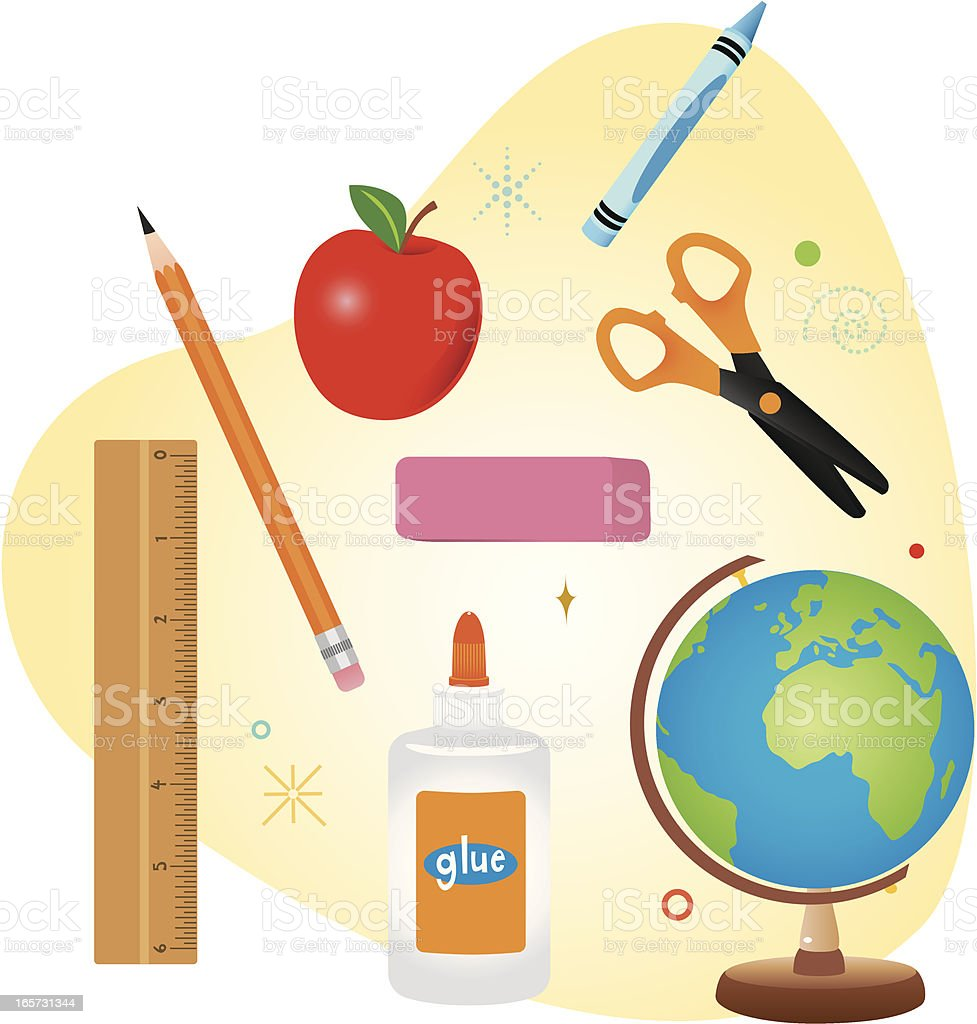 School supplies that are used in the classroom  vector art illustration