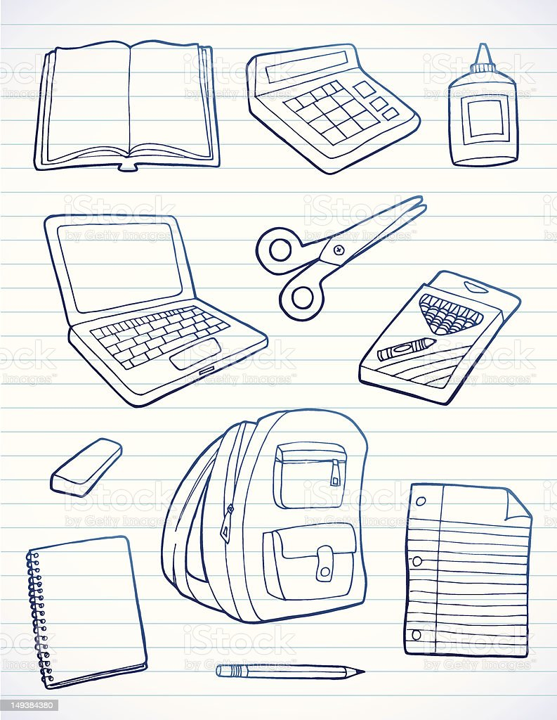 School Supply Doodles royalty-free stock vector art