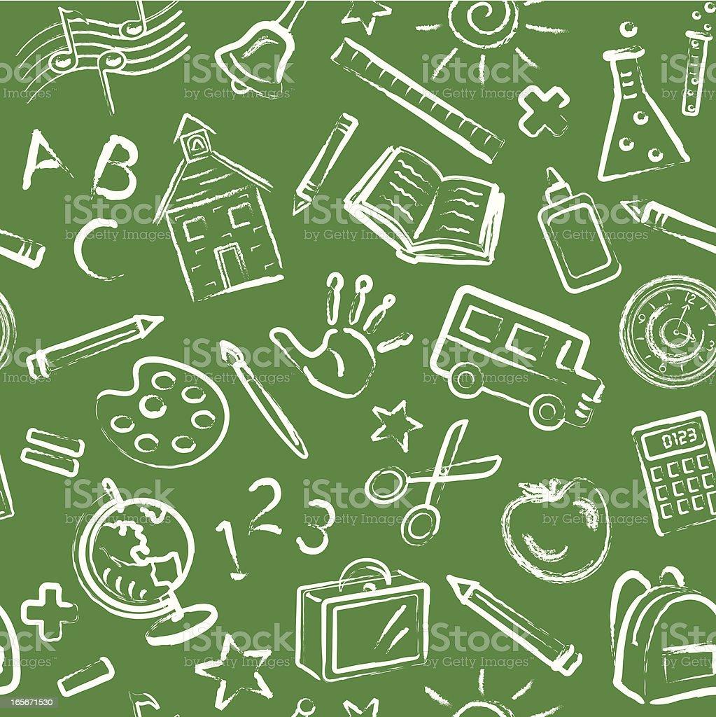 School Symbols Blackboard Seamless Pattern royalty-free stock vector art