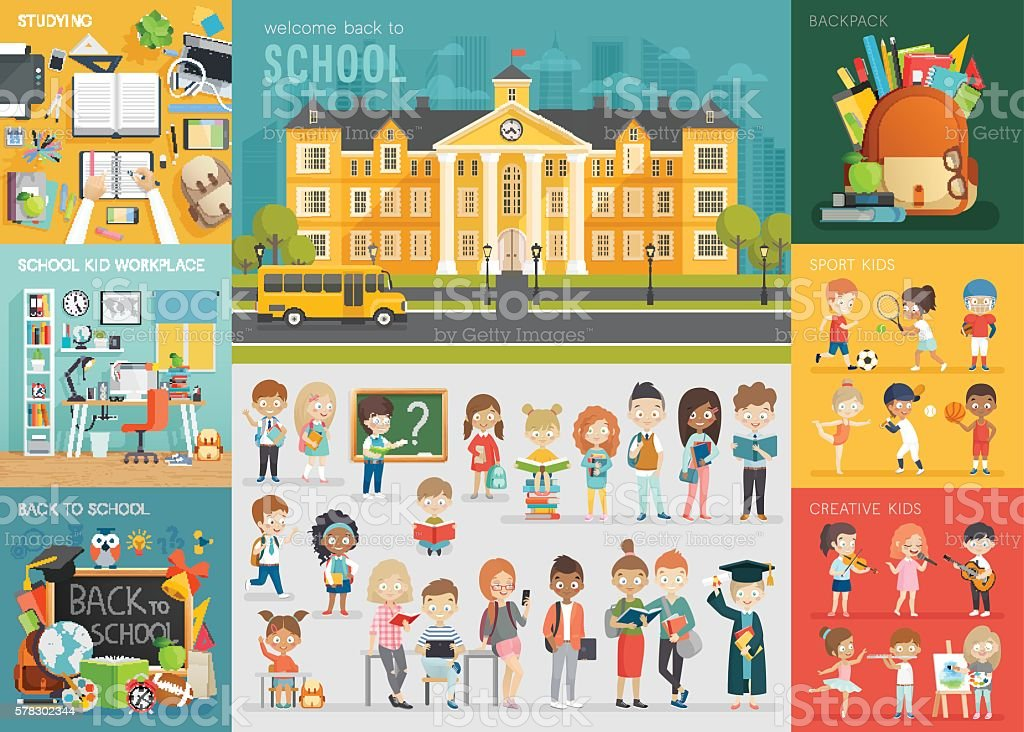 School theme set. Back to school, workplace, school kids and other elements. vector art illustration