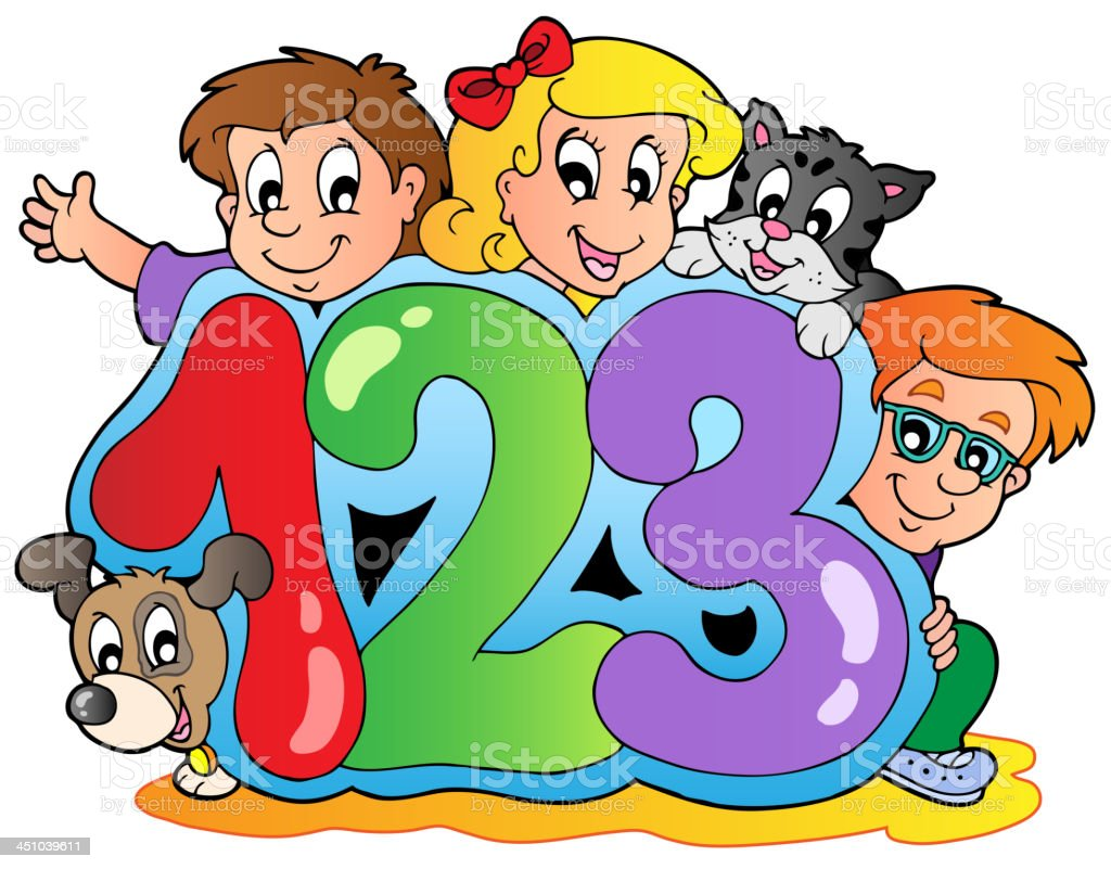School theme with numbers royalty-free stock vector art