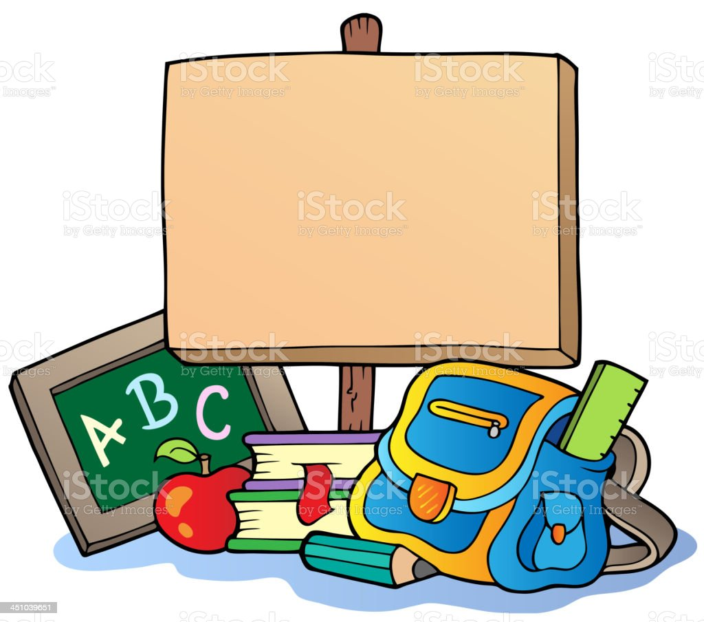 School theme with wooden board royalty-free stock vector art