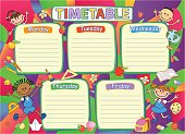 School timetable schedule, colorful vector illustration.