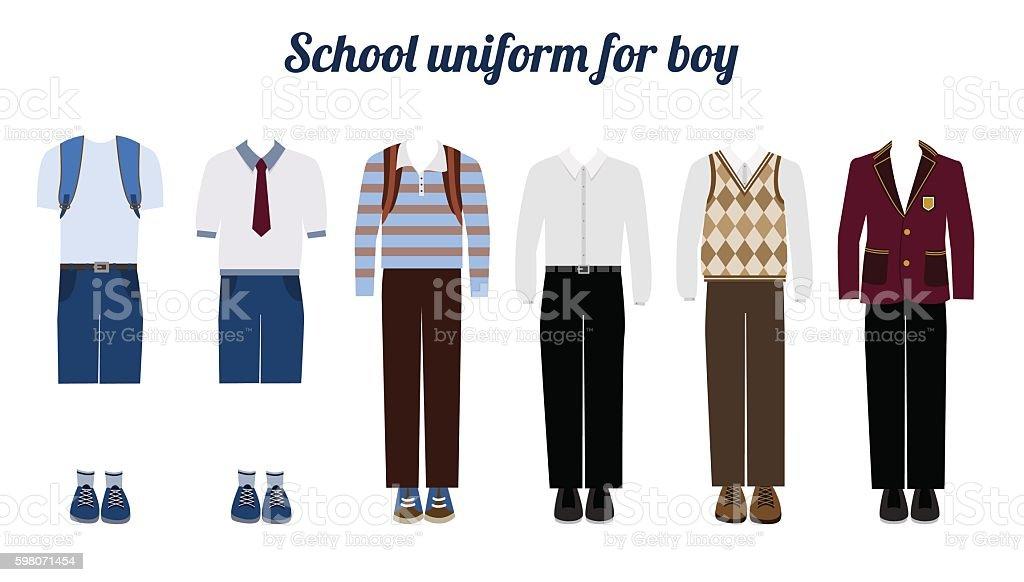 School uniform for boys flat vector illustration vector art illustration