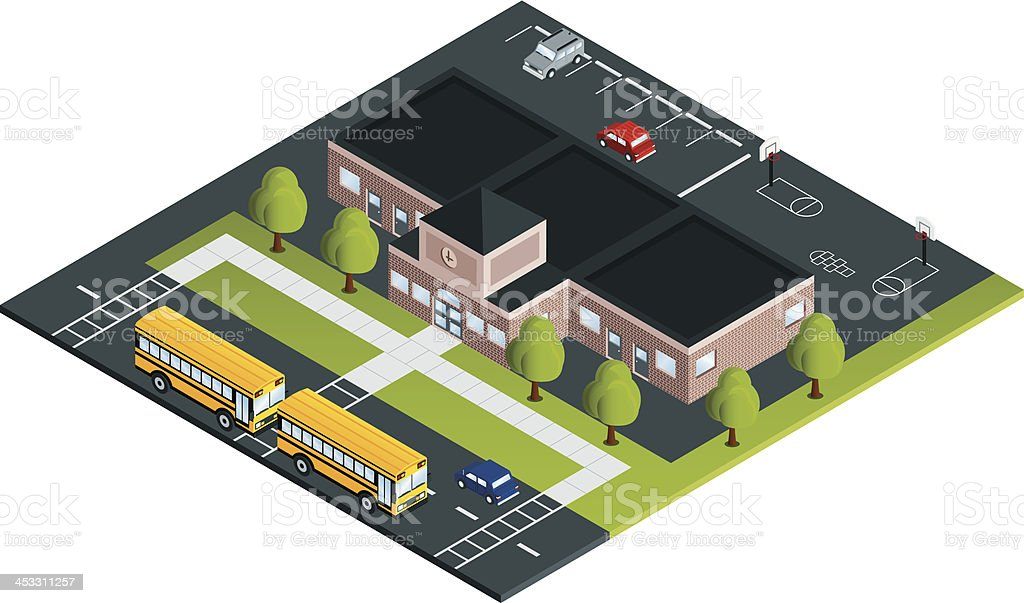 School with Buses vector art illustration