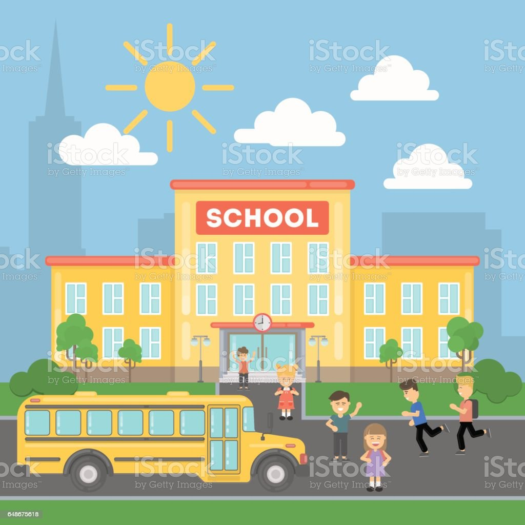 School with children and yellow bus. vector art illustration