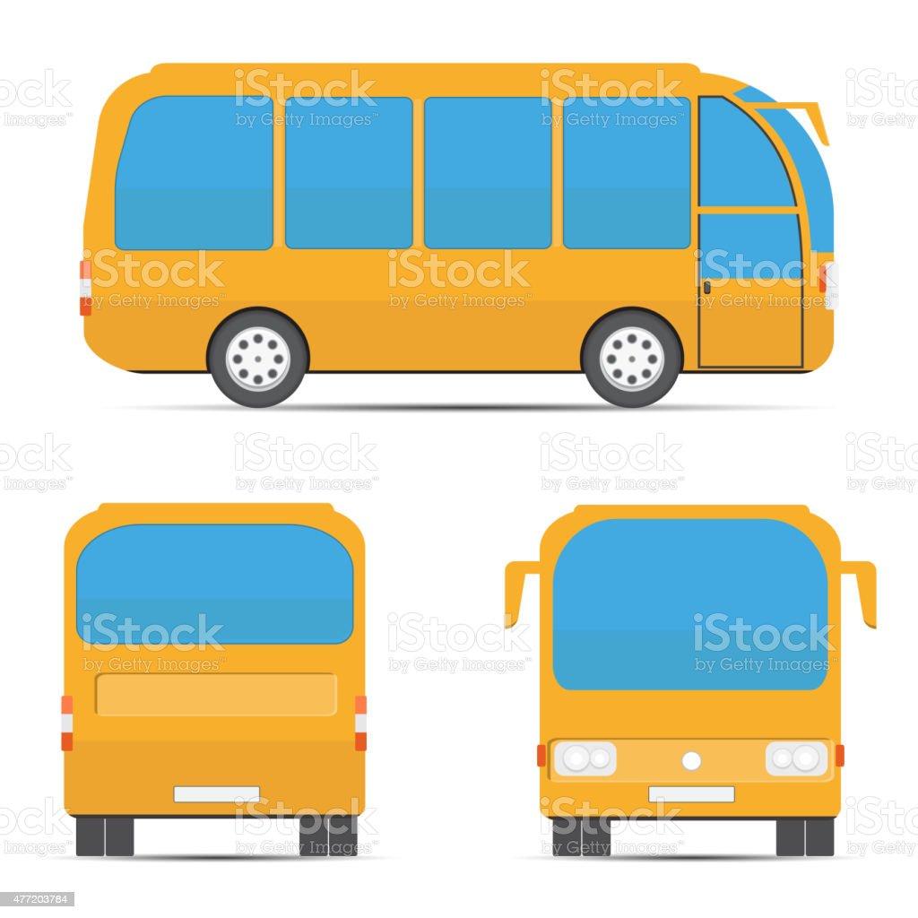 School yellow bus. Yellow bus rear, side, front vector art illustration