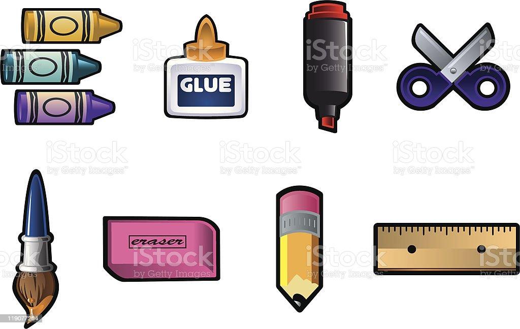 School/Art Supplies vector art illustration