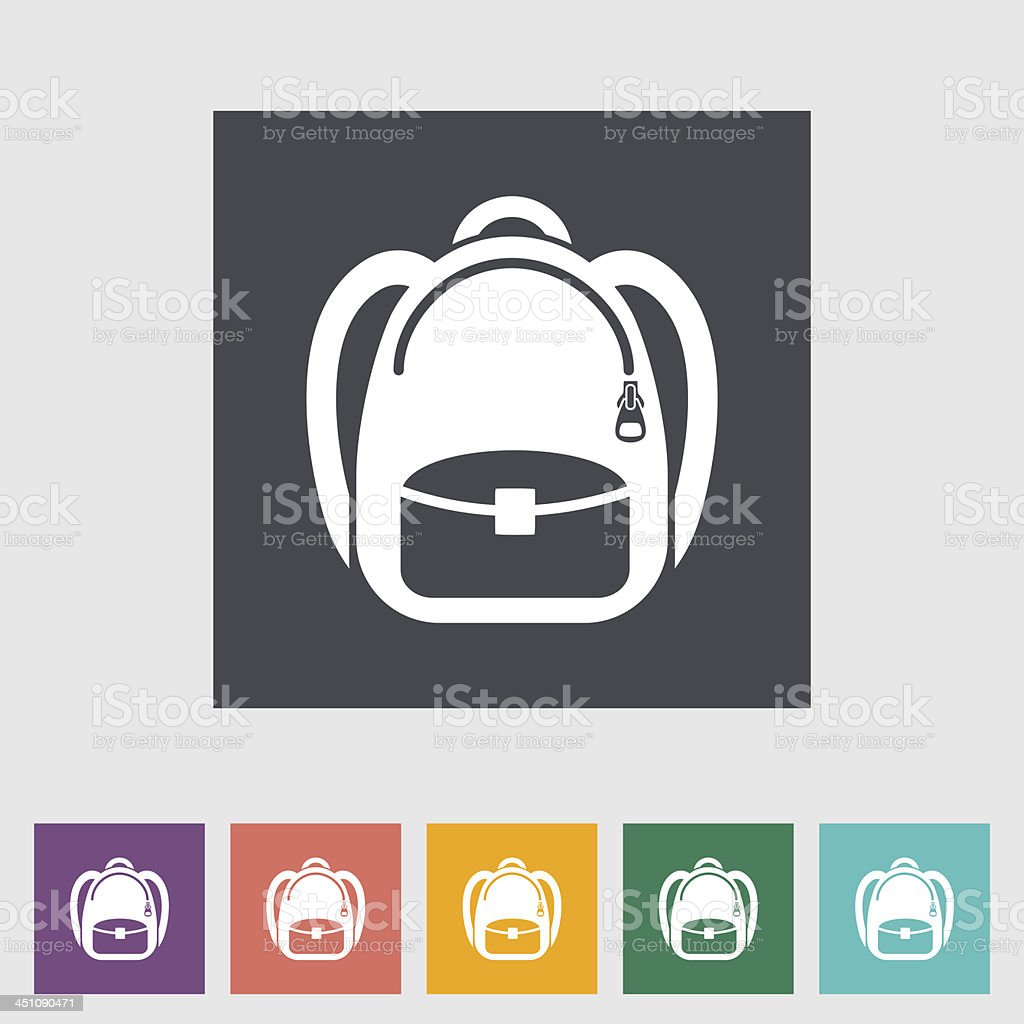 Schoolbag icons in different colors vector art illustration