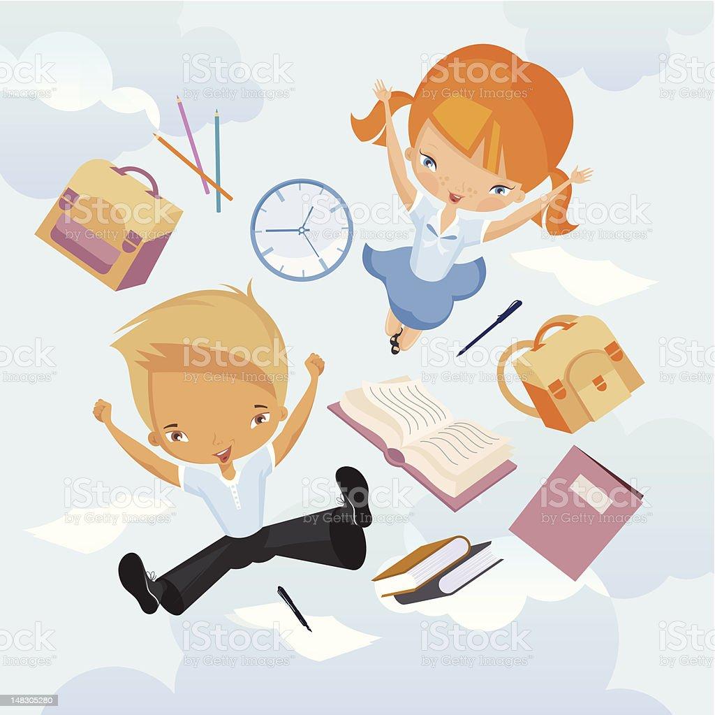Schoolboy and schoolgirl. vector art illustration