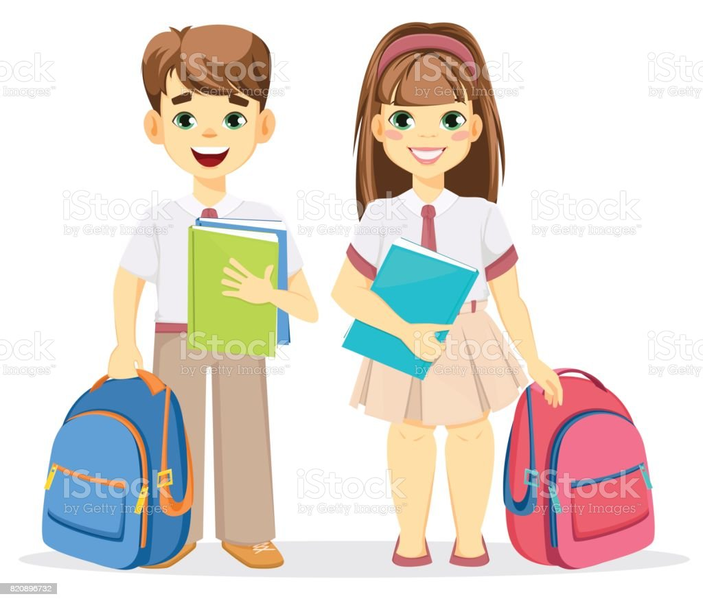 Schoolboy and schoolgirl with backpack and textbooks. vector art illustration