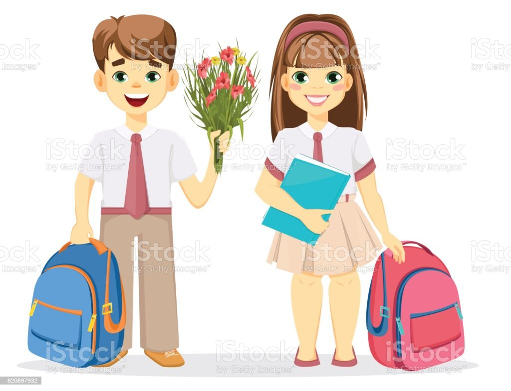 Schoolboy and schoolgirl with backpack. vector art illustration