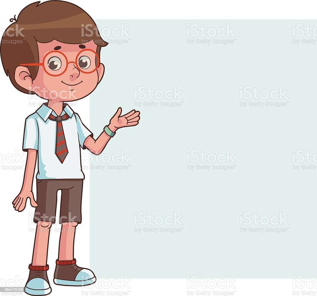 Schoolboy in front of a white board vector art illustration