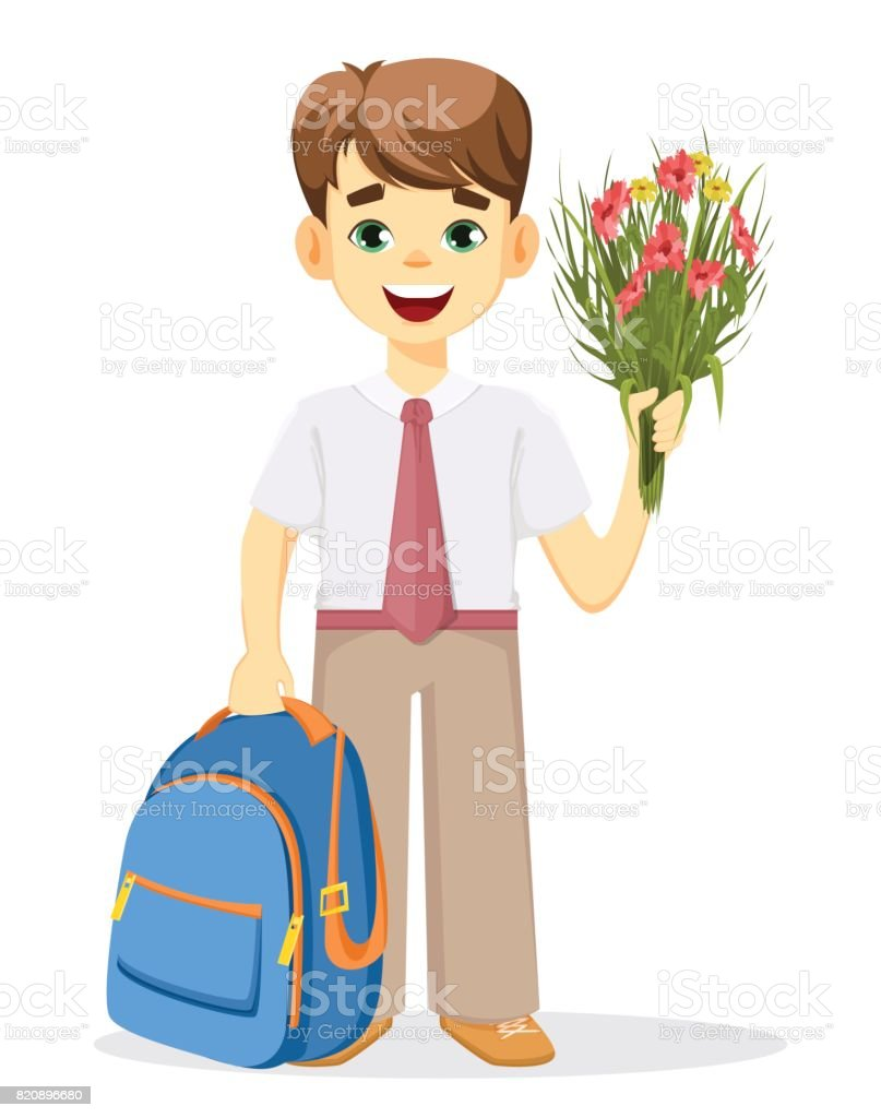 Schoolboy with backpack and bouquet of flowers vector art illustration