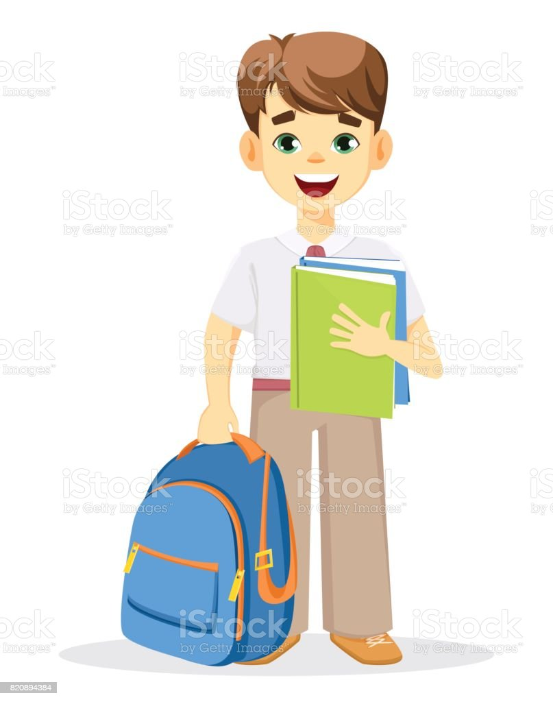 Schoolboy with backpack and textbook. vector art illustration