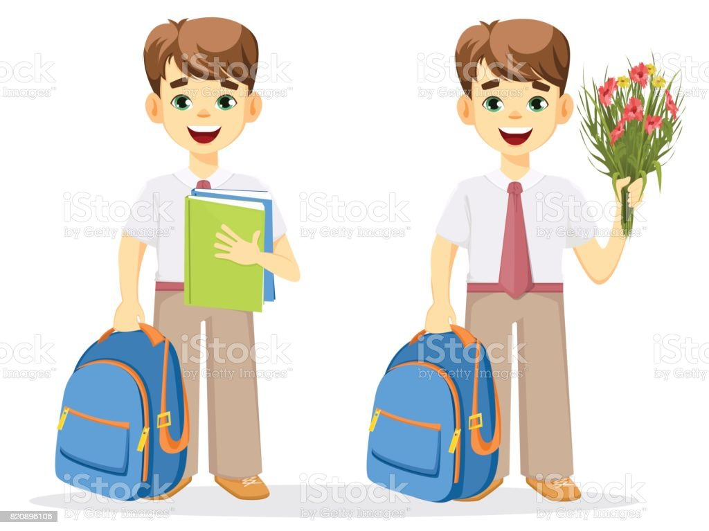 Schoolboy with backpack, textbook and bouquet of flowers. vector art illustration