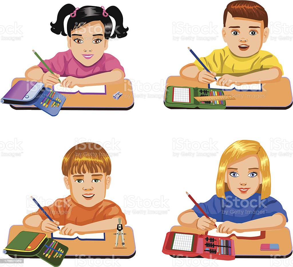 schoolchildren, sitting at their desks royalty-free stock vector art