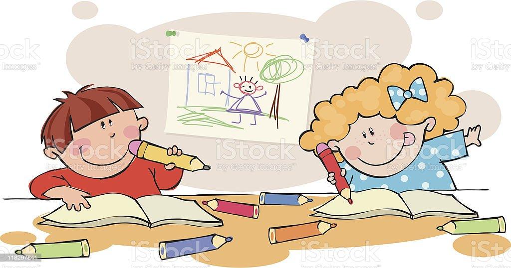 Schoolchildren royalty-free stock vector art