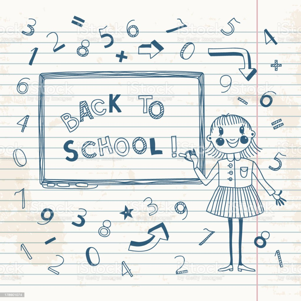 Schoolgirl at the blackboard royalty-free stock vector art