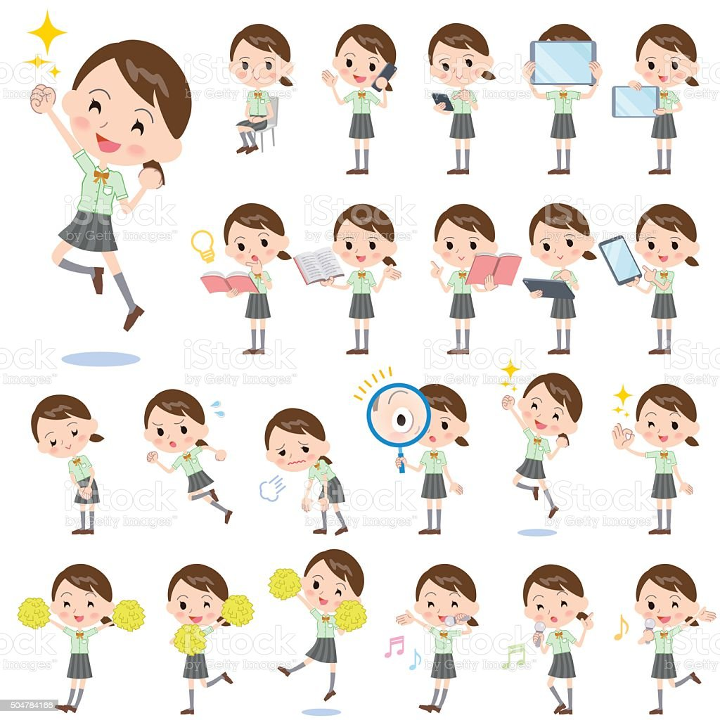 schoolgirl Green shortsleeved shirt 2 vector art illustration