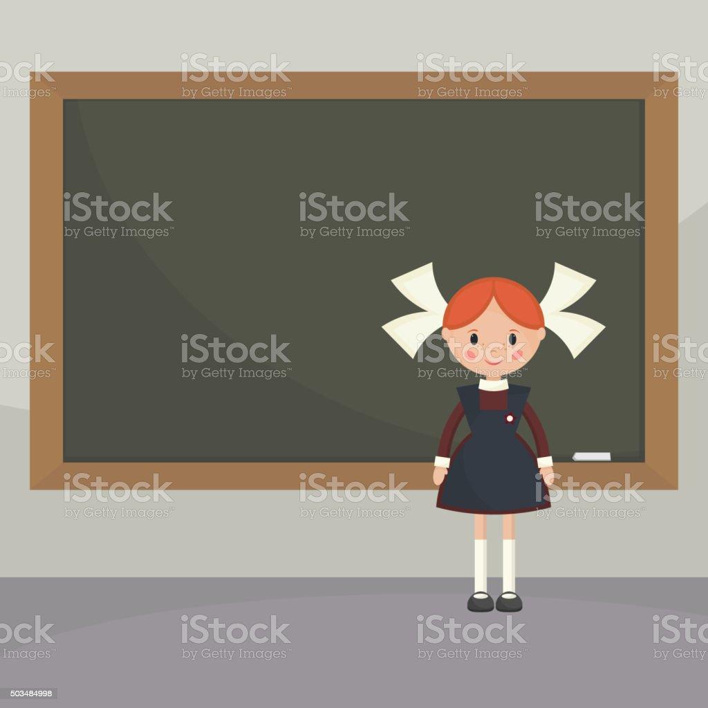 Schoolgirl  near the school board. vector art illustration