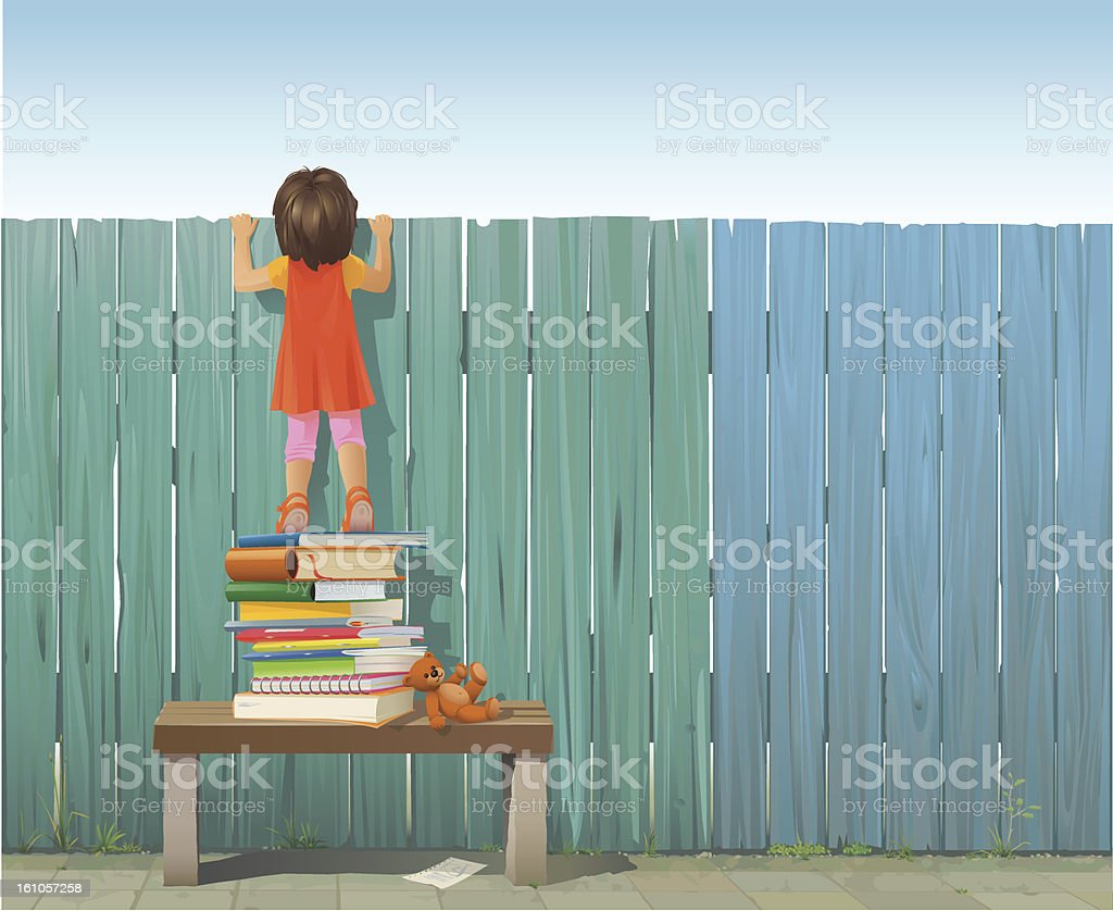 Schoolgirl on pile of books looking over fence royalty-free stock vector art