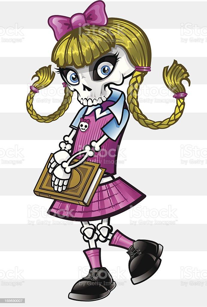 Schoolgirl Skeleton royalty-free stock vector art