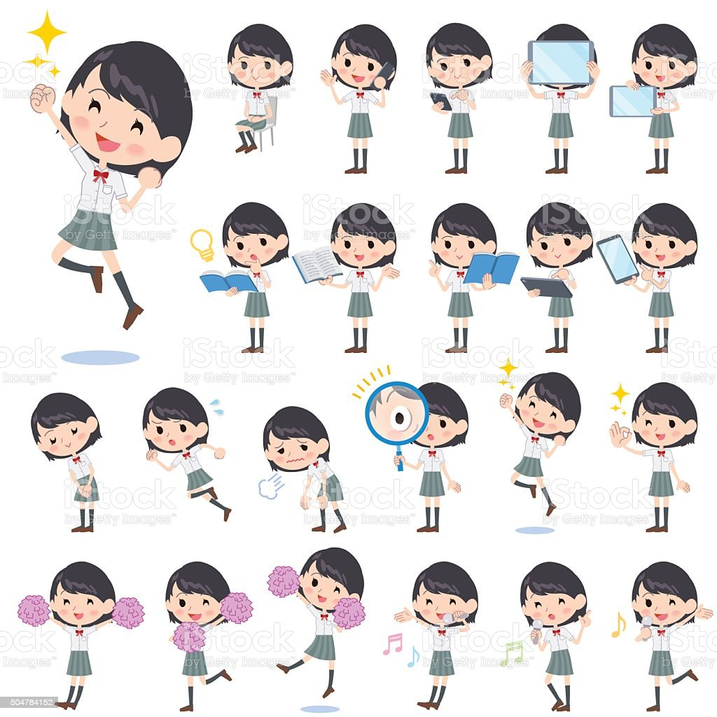 schoolgirl White shortsleeved shirt 2 vector art illustration