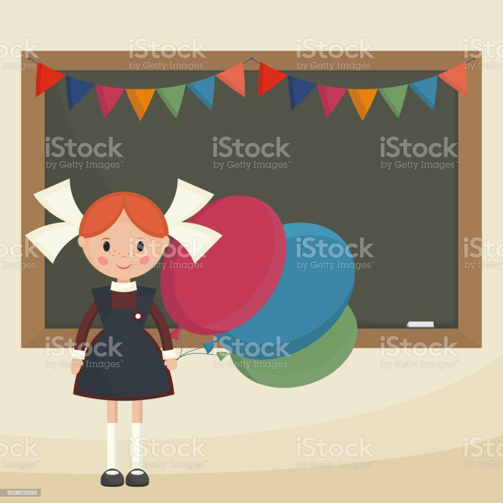 Schoolgirl with balloons vector art illustration