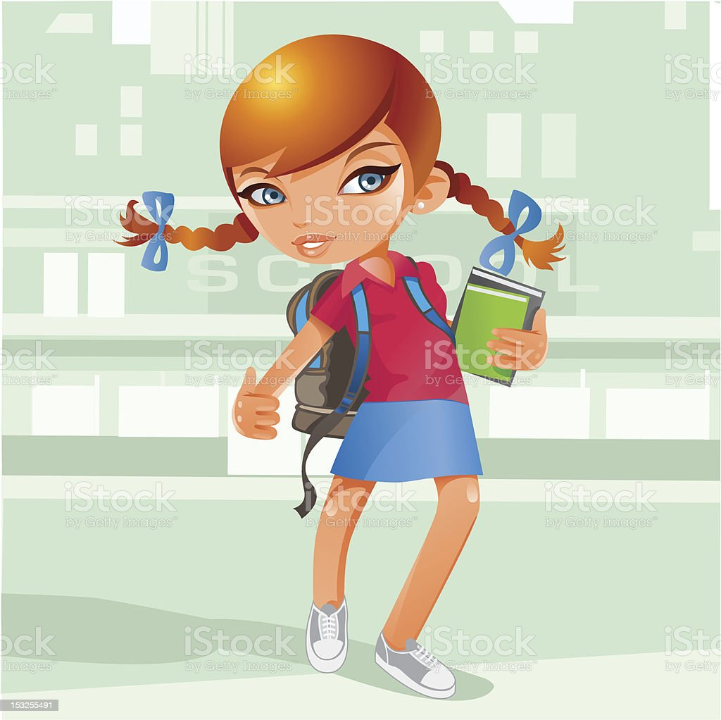 Schoolgirl with books and back pack vector art illustration