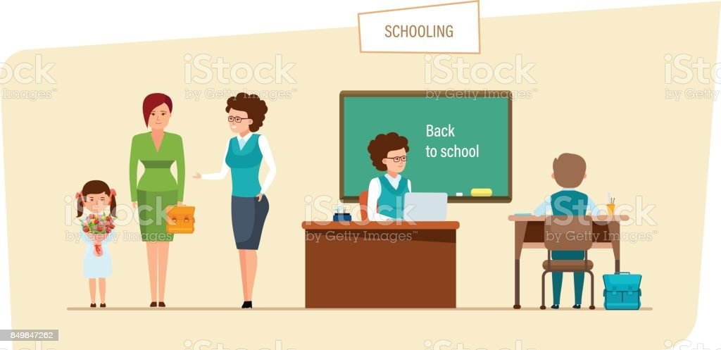 Schooling concept. Education in school. Classes and lesson in classroom vector art illustration
