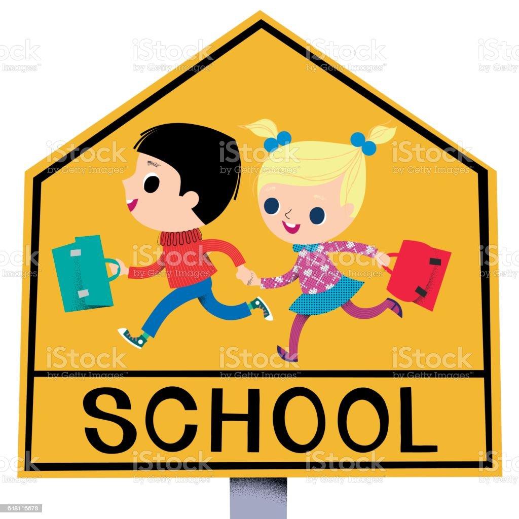 School-Zone traffic sign vector art illustration