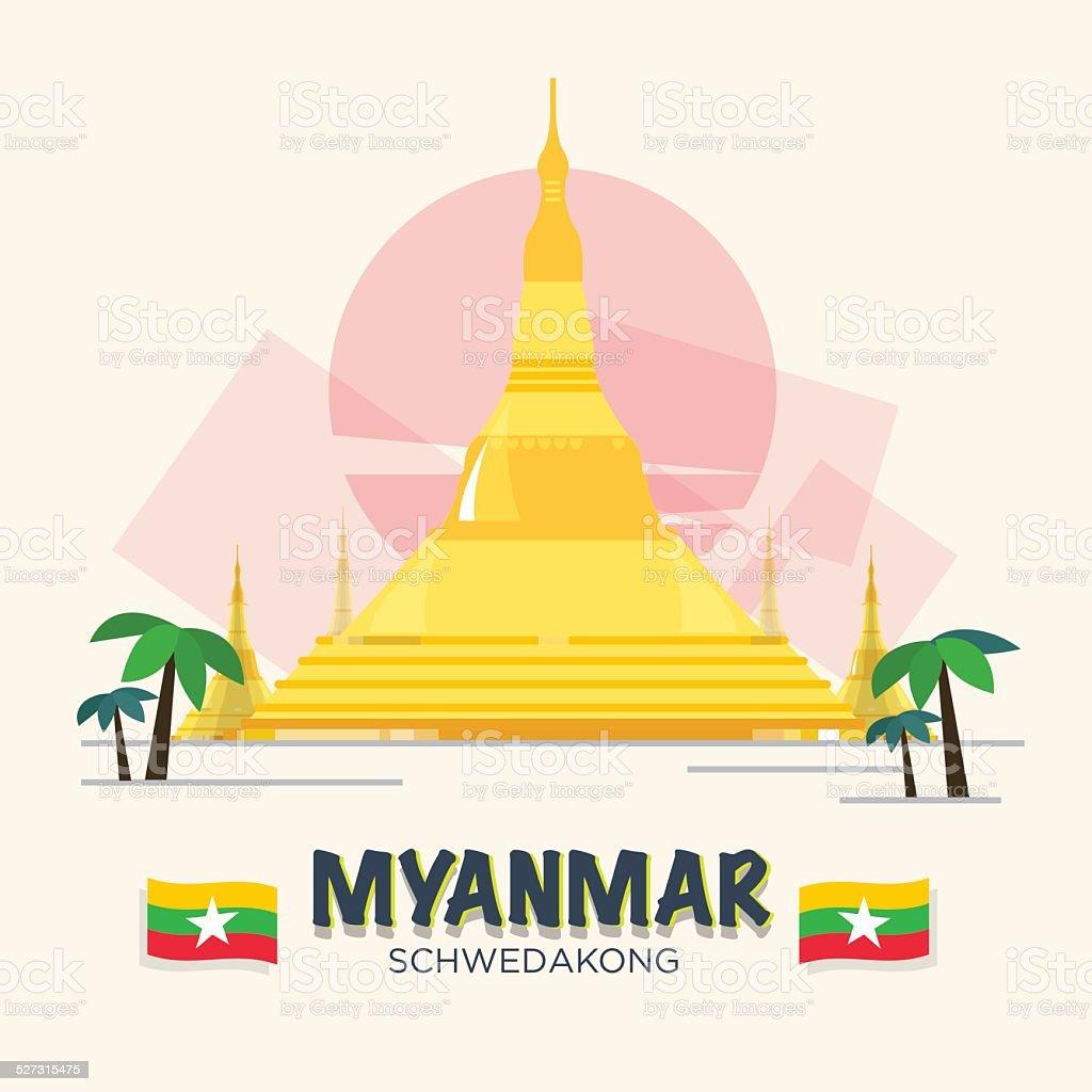 Schwedakong landmark of Myanmar. ASEAN SET - VECTOR ILLUSTRATION vector art illustration