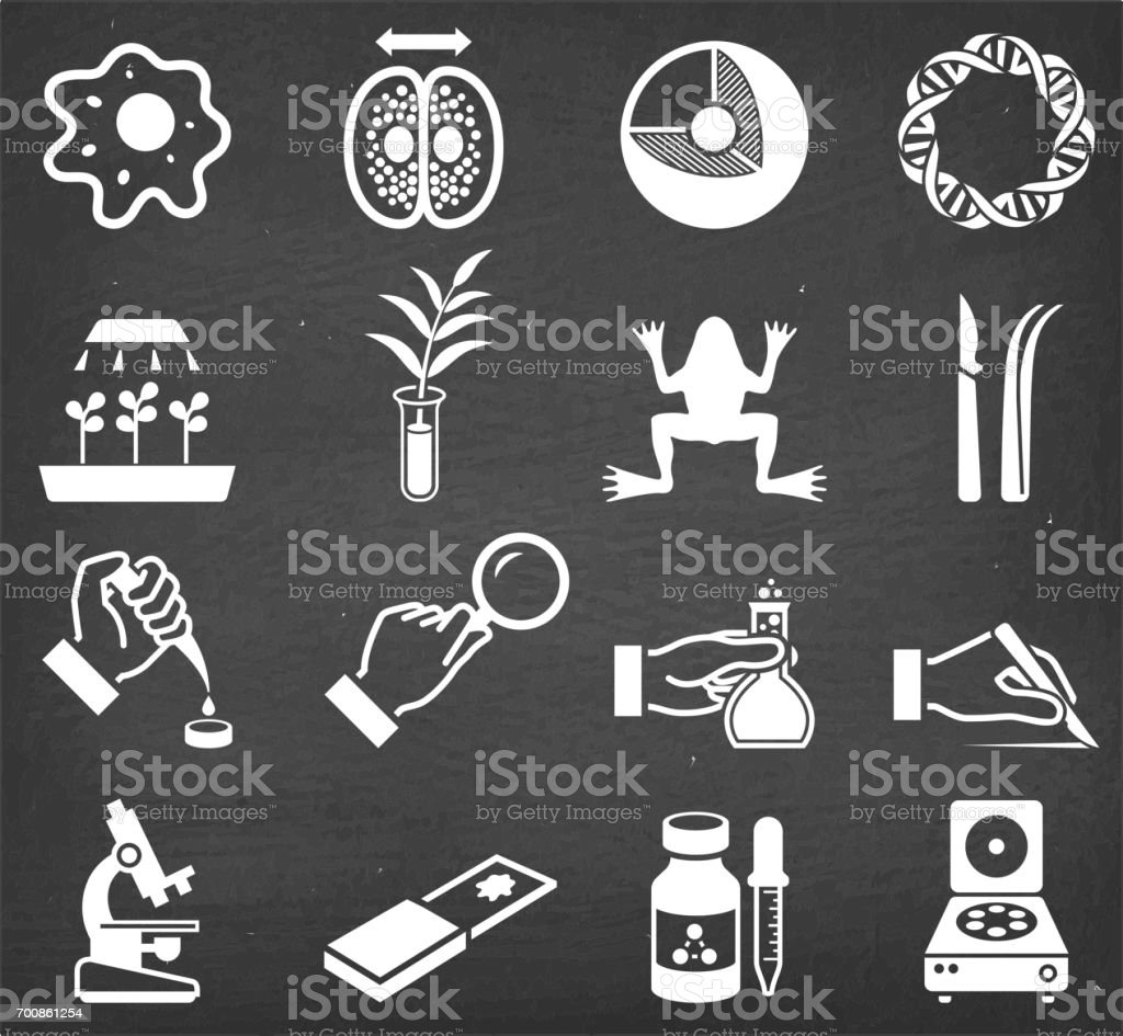 Science and Biology Scientific Innovation vector icon set vector art illustration