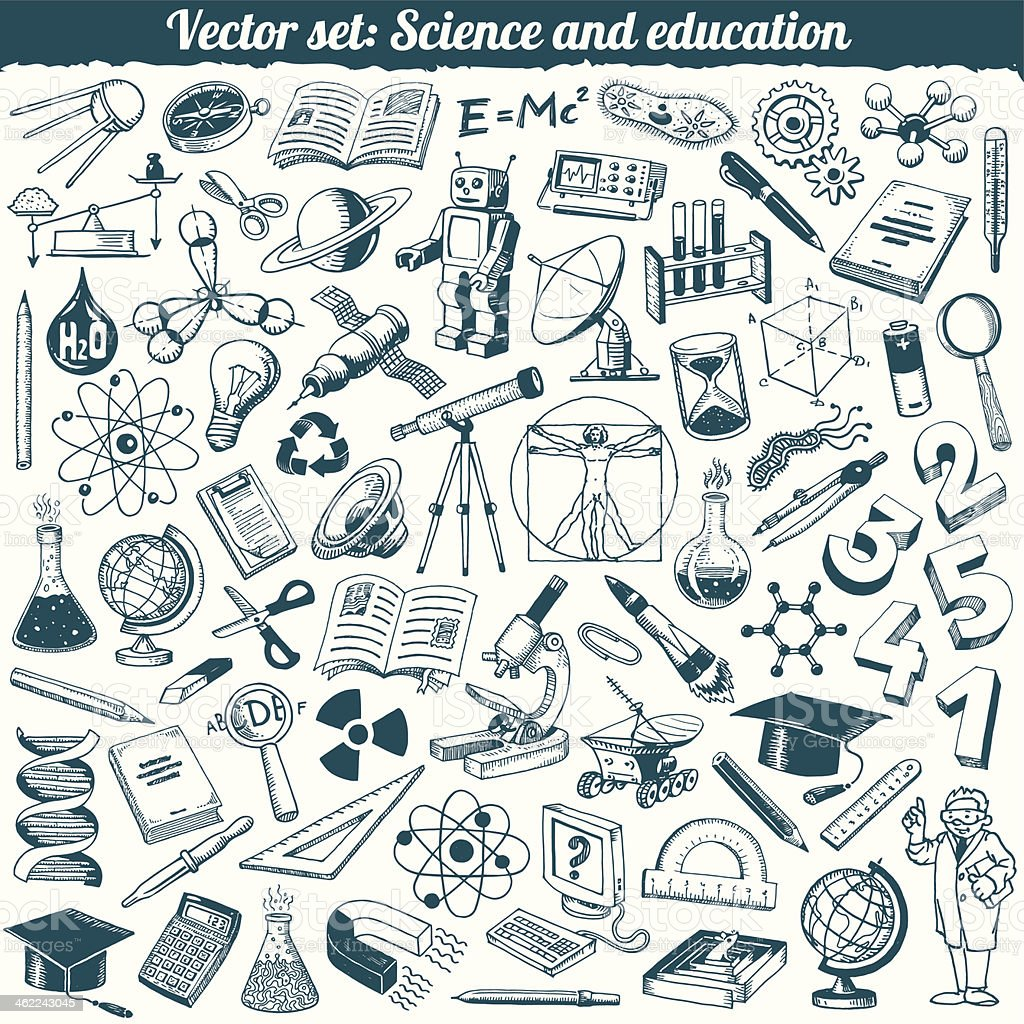 Science And Education Doodles Icons Vector Set vector art illustration