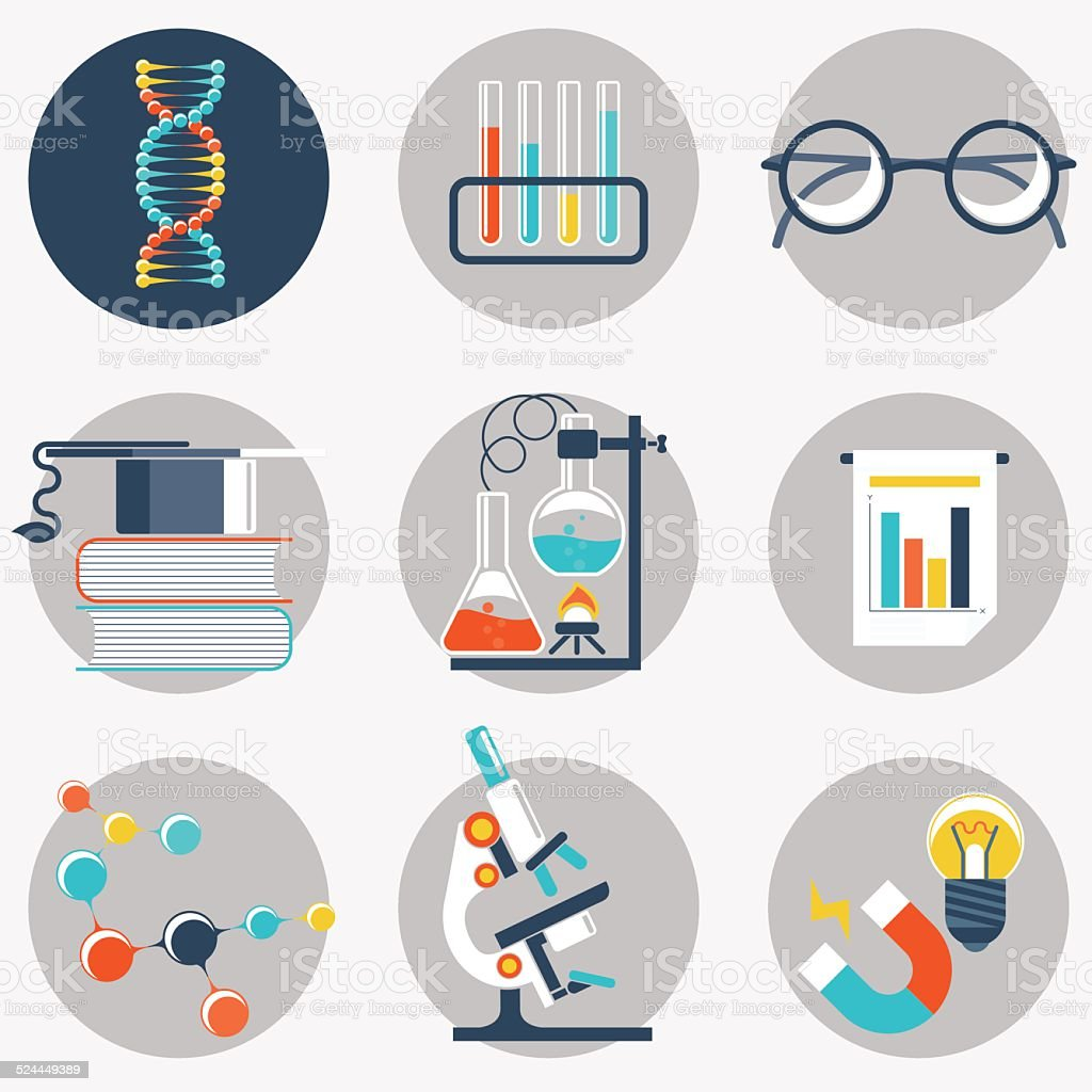Science and education flat object vector art illustration