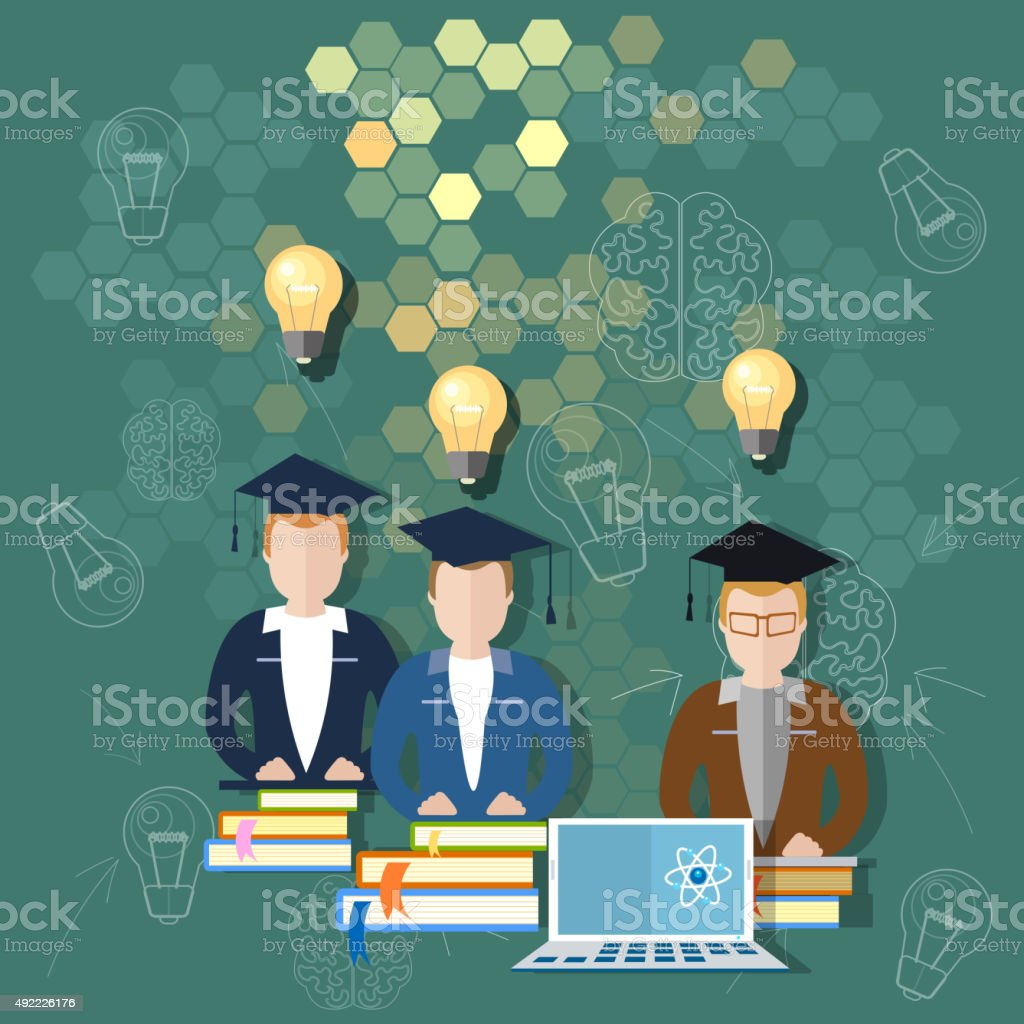 Science and education online education school board concept vector art illustration