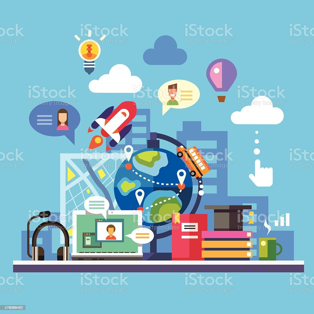 Science and modern technology vector art illustration