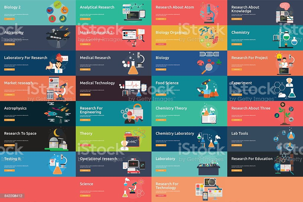 Science and Research Banner Set vector art illustration